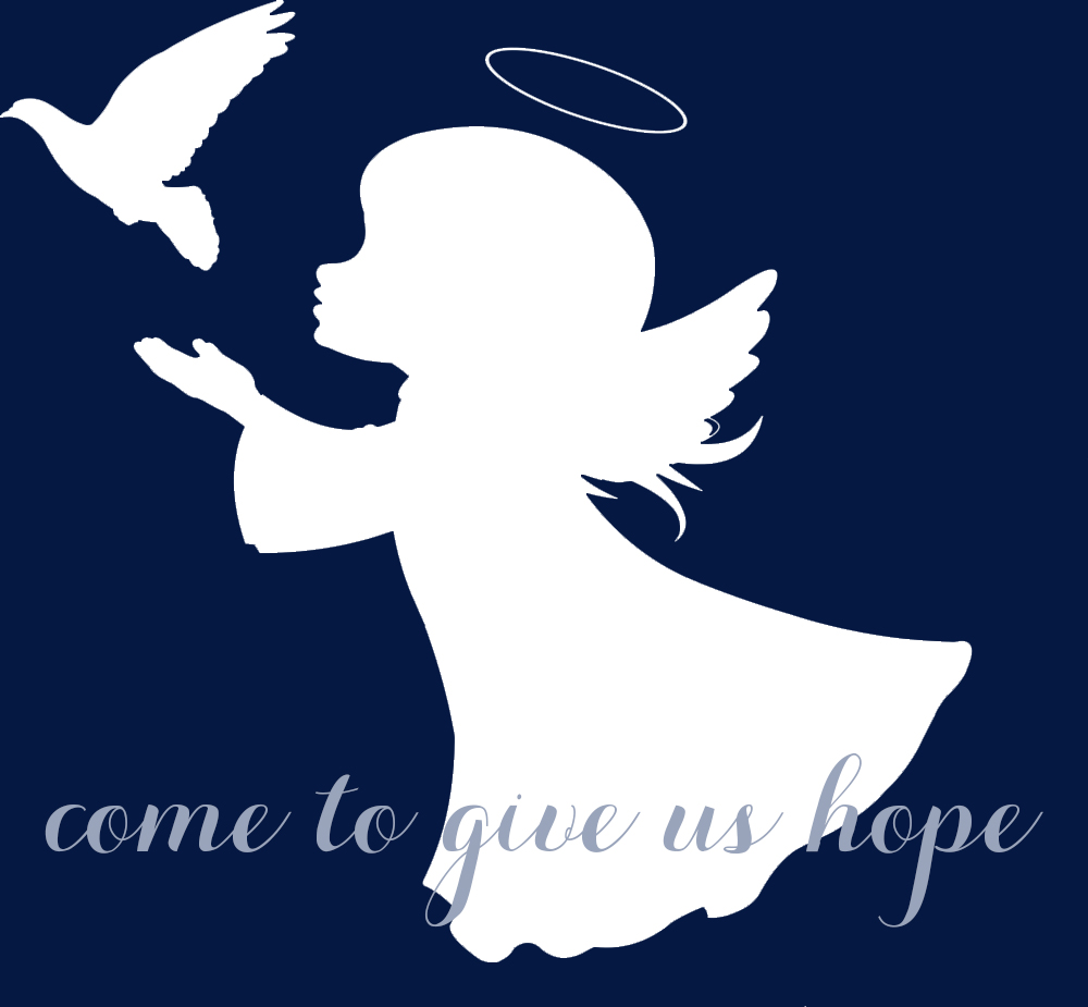 Come to give us hope angel & dove silhouette
